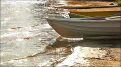 Lake coast with boats. Stock Footage