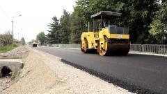 024 Road rollers flattens asphalt. Steamrollers. Paving. Asphalting. Stock Footage