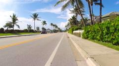 Bike lane passed by a biker Stock Footage