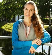 Young sporty woman outdoor. Stock Photos