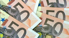 Fifty euro bank note zoom in Stock Footage