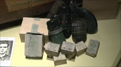 WWII ammuniciation & grenades display, Merville Battery, Lower Normandy, France. Stock Footage