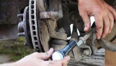 Car Repair, close up of car wheel repair Stock Footage