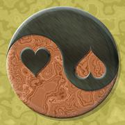 Yin-yang heart symbol with seamless generated texture background - stock illustration