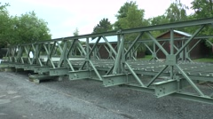 A bailey bridge on display in the Pegasus Bridge Museum, Normandy, France. Stock Footage