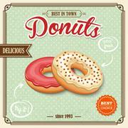 Donut retro poster Stock Illustration