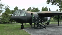 Horsa glider replica on display in the Pegasus Bridge Museum, Normandy, France. Stock Footage