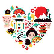 Japan symbols heart Stock Illustration