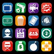Stock Illustration of Action Movie Icons Set