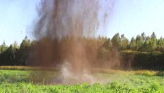 Explosion. The explosion throws the soil. Stock Footage