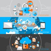 Data Protection Security Banners Stock Illustration