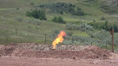 P03882 Fire Burning Natural Gas at Oil Well in North Dakota Stock Footage