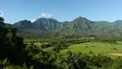 Pan, Hanalei Valley Lookout, Kauai, Hawaii Stock Footage