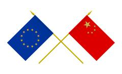 Stock Illustration of flags, china and european union