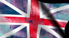 Great Britain grunge flag on world map Stock Footage