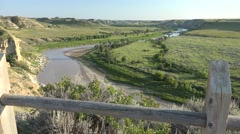 P03889 Person Watching Little Missouri River in North Dakota Badlands Stock Footage