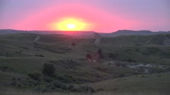 P03890 Sunset over Little Missouri River Grasslands and North Dakota Badlands Stock Footage