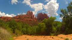Clouds Over Cathedral Rock With Tourists Time Lapse- Sedona AZ Stock Footage