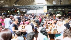 People eating at Municipal Market (Mercado Municipal) in Sao Paulo. Stock Footage
