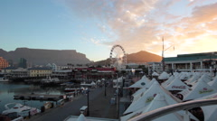 PORT CAPE TOWN TABLE MOUNTAIN BAY Stock Footage
