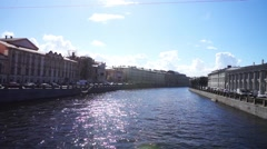 Scenic view at Griboyedov channel with two embankments, St. Petersburg Stock Footage