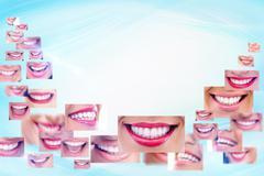 smile collage - stock illustration