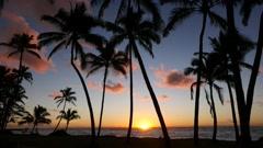 Sunrise, Kapaa Beach, Kauai, Hawaii Stock Footage