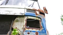 Scrapyard with old cars and cars parts Stock Footage