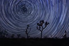 Star trails and milky way in joshua tree national park Stock Photos