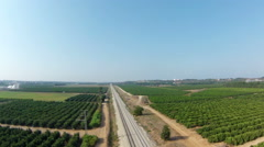 Aerial view of the railway line, Israel Stock Footage