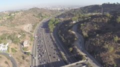 Aerial Shot of 101 Freeway with Downtown LA in Background Stock Footage