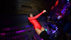 Go go dancer. Girl dancing on the bar. Strip - stock footage