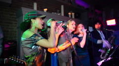 Live singing. Music band. Vocal. Pop rock. Karaoke Stock Footage