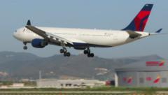 Commercial Aircraft Landing at Barcelona Airport. Stock Footage