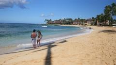 Poipu Beach, Kauai, Hawaii Stock Footage