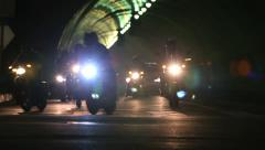 Biker Gang in Night Motorcycle Convoy City Tunnel Stock Footage