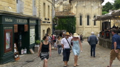 Place de L'eglise Monolithe - Saint Emilion France - stock footage