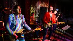 Disco band in restaurant Stock Footage