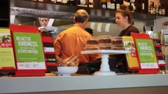 Staff at Fast-Food Restaurant Prepares orders Stock Footage