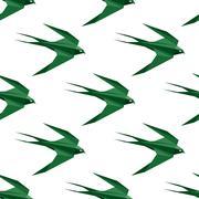 Origami swallow seamless pattern Stock Illustration