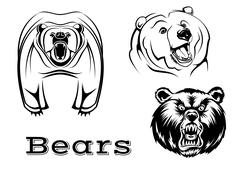 Angry grizzly bears characters Stock Illustration