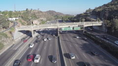 Aerial Shot of 101 Freeway Sign at Mulholland Stock Footage