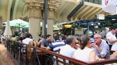 Restaurant at Municipal Market (Mercado Municipal) in Sao Paulo, Brazil Stock Footage
