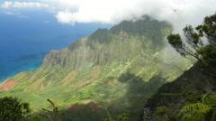 Kalalau Lookout, Napali Coast, Kokee State Park, Kauai, Hawaii Stock Footage