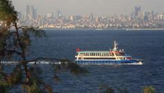 Island ferry cruising towards Kinali Ada in Marmara Sea Stock Footage