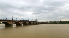 Tram passing over the Pont de Pierre bridge - Bordeaux France - HD 4k+ Stock Footage