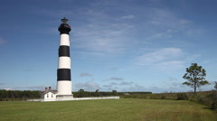 Bodie Island Lighthouse In The Outer Banks, North Carolina Stock Footage