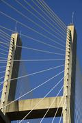 Close up of the Talmadge Memorial cable-stayed bridge in Savannah, GA - stock photo