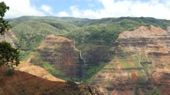 Waipoo Falls, Waimea Canyon, Kauai, Hawaii Stock Footage