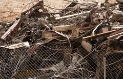 Stock Photo of Scrap Metal Pile After Demolition